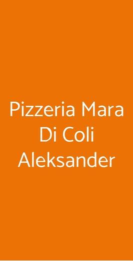 Menu Pizzeria Mara Di Coli Aleksander