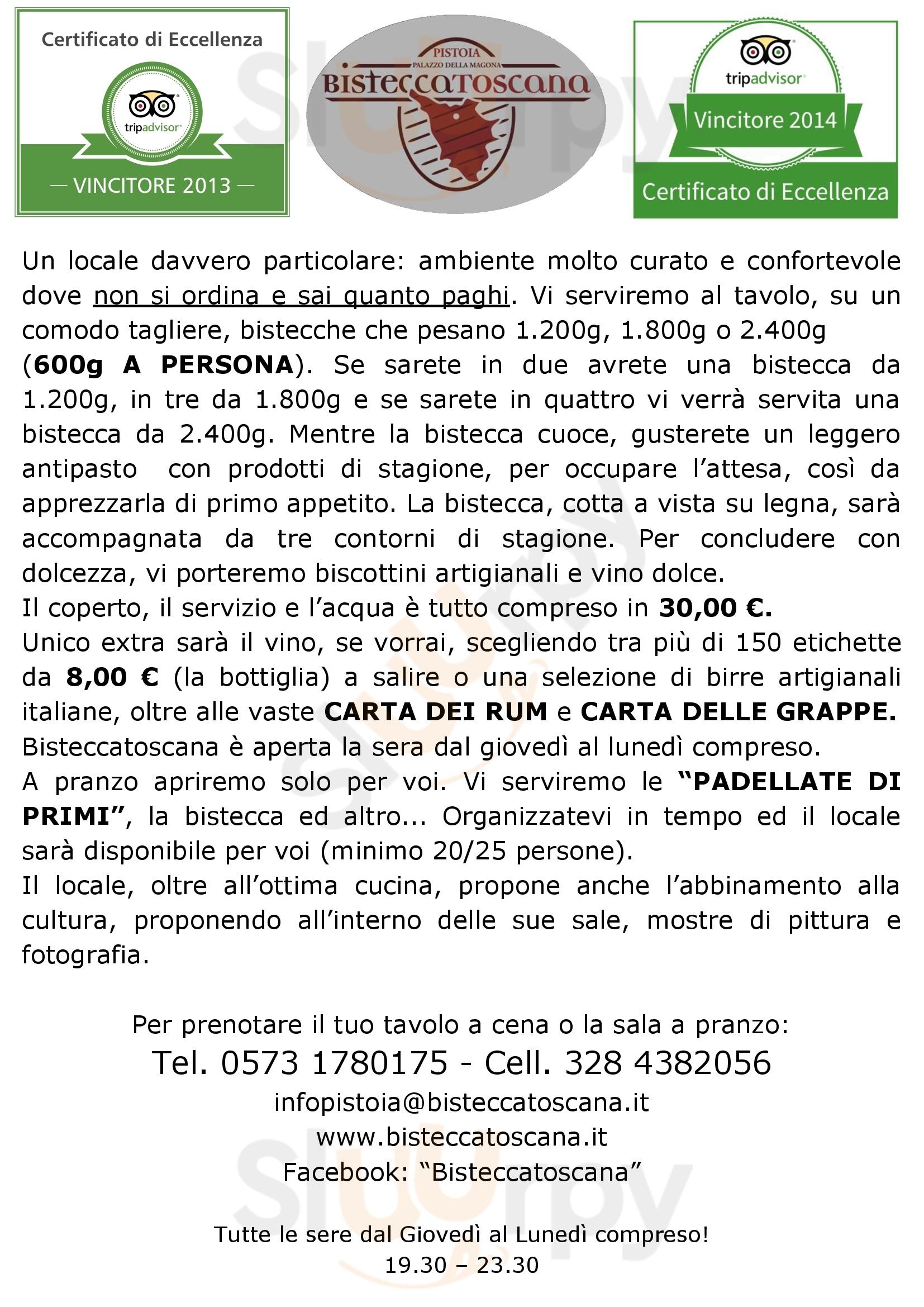 Bisteccatoscana Pistoia menù 1 pagina