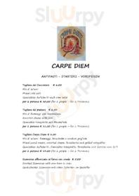 Menu Carpe Diem Pizzeria Ristorante