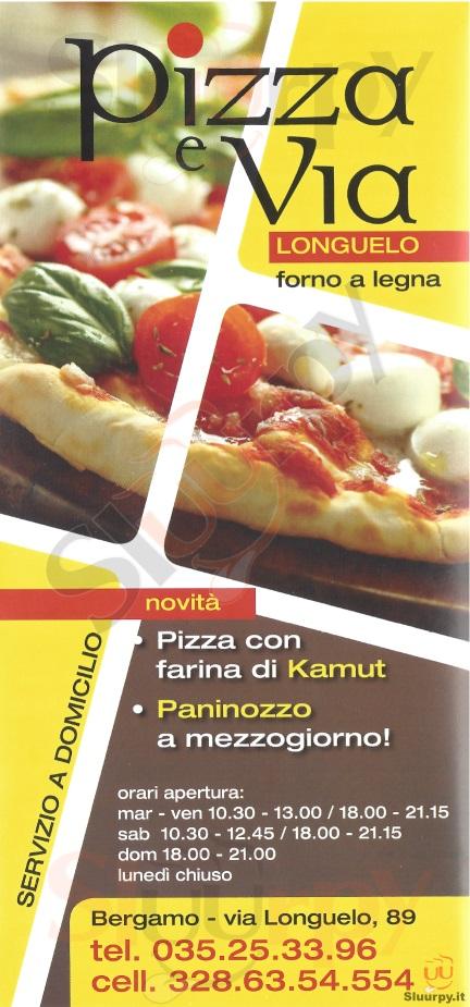 PIZZA E VIA Bergamo menù 1 pagina