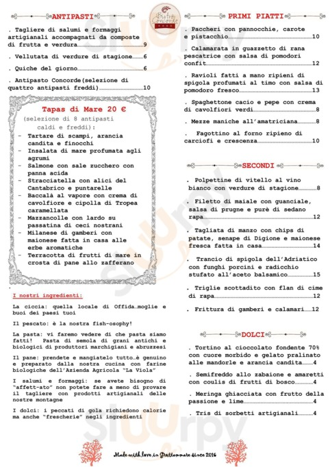 Menu Bistro Concorde food and drink