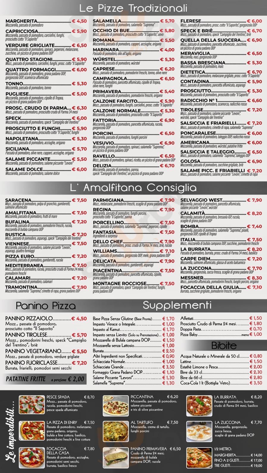 Menu Pizzeria D'asporto L'Amalfitana