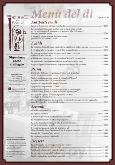Menu Hostaria da Fanio