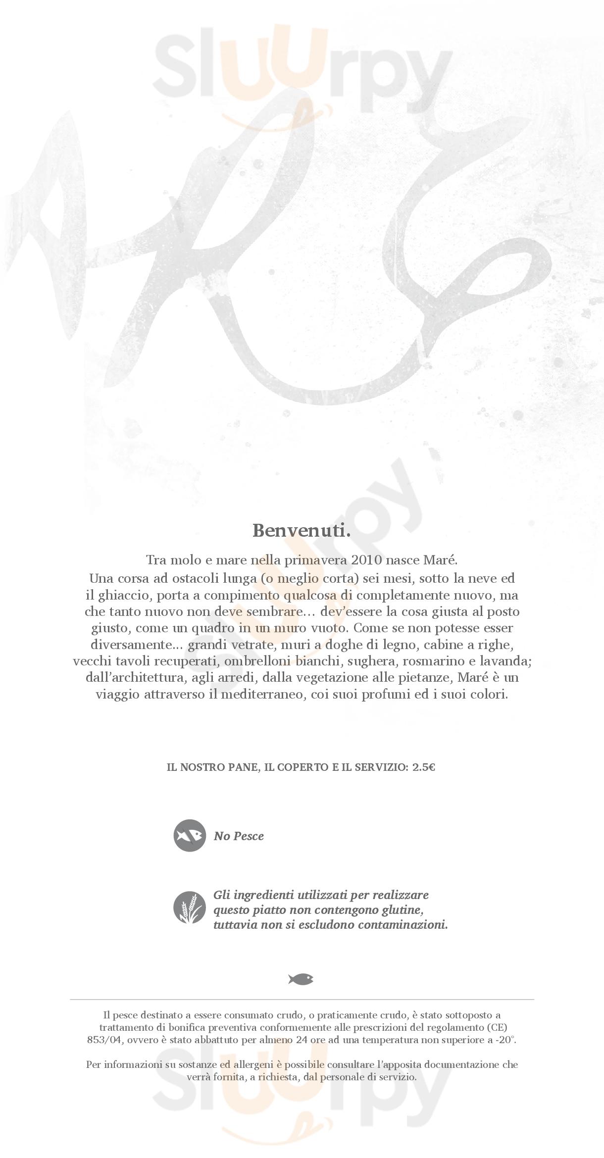 Marè Cesenatico menù 1 pagina