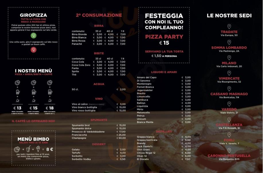 Menu Pizza Club No Limits