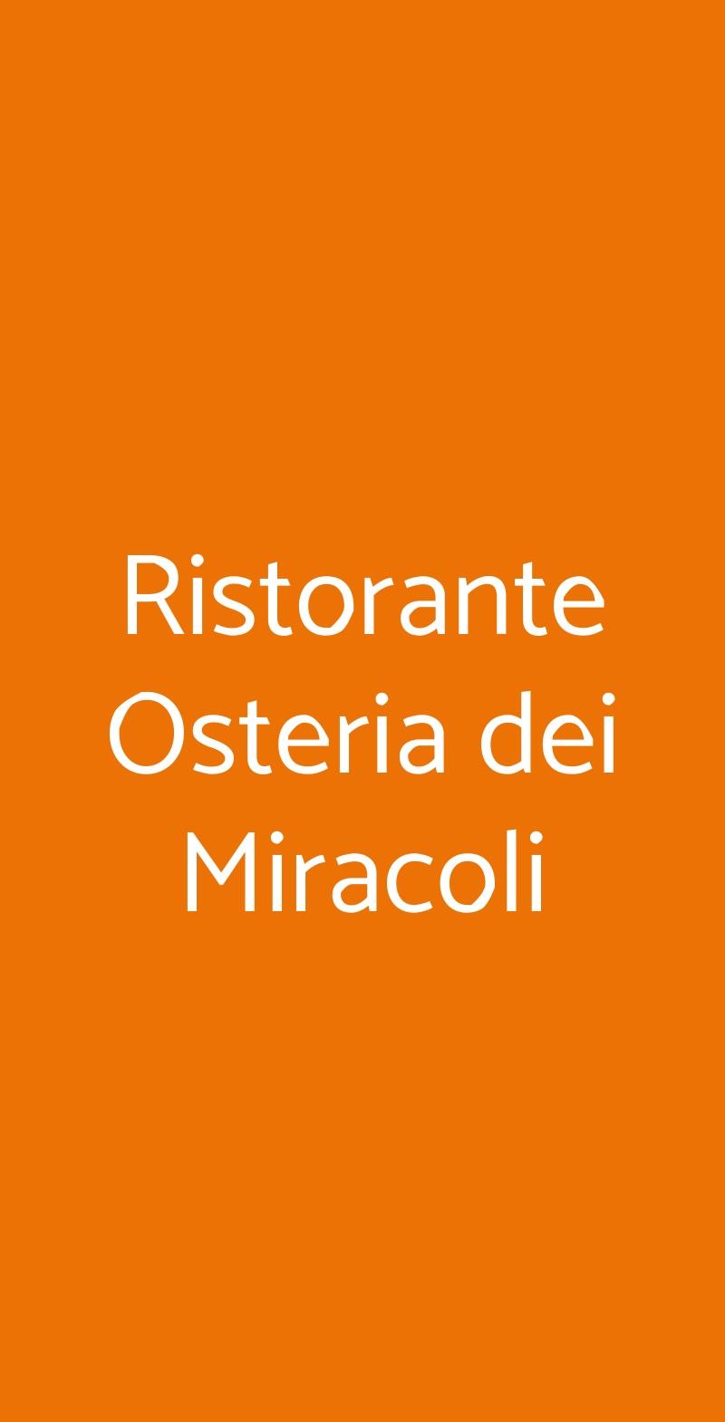 Ristorante Osteria dei Miracoli Pescara menù 1 pagina