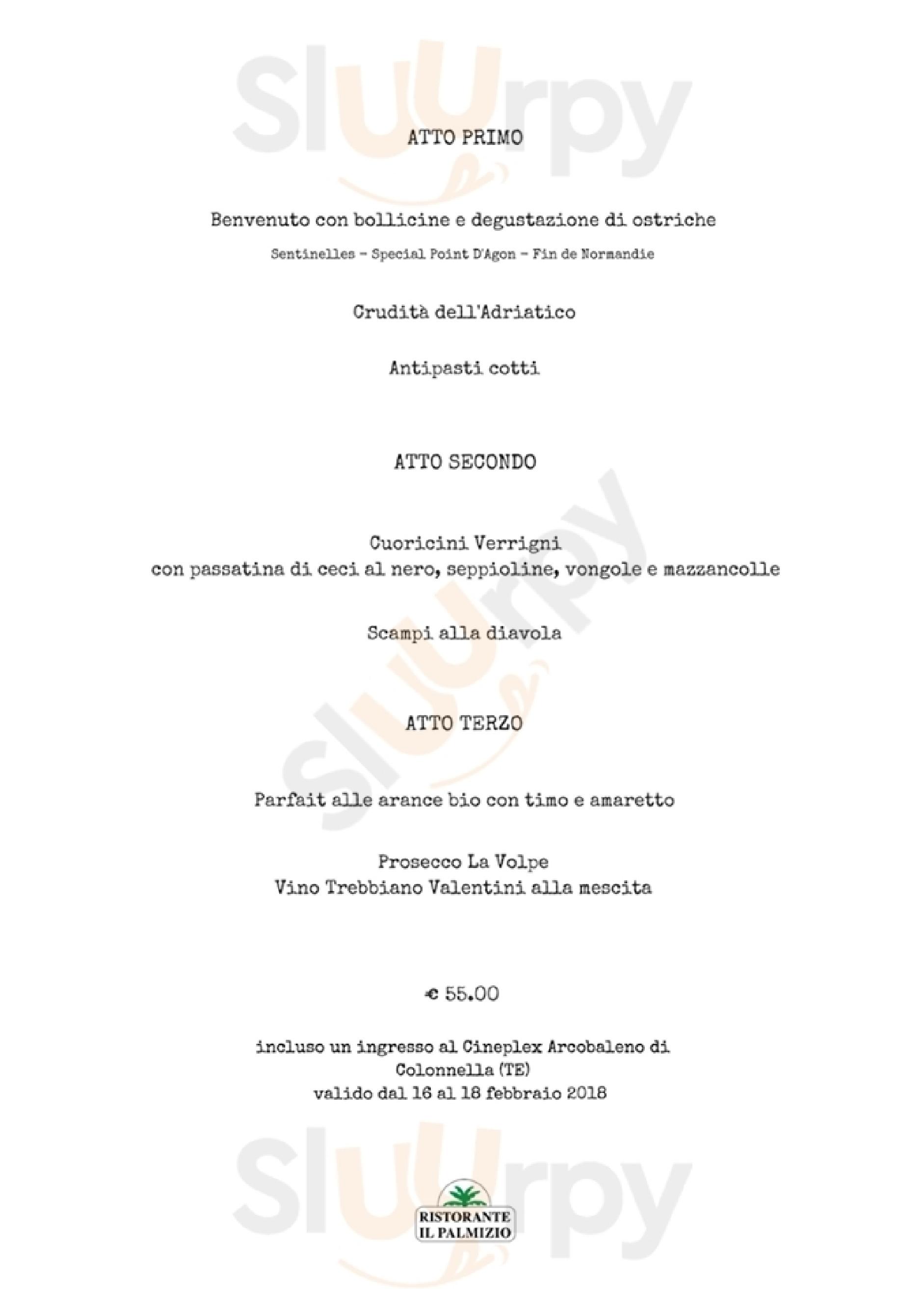 Il Palmizio Alba Adriatica menù 1 pagina