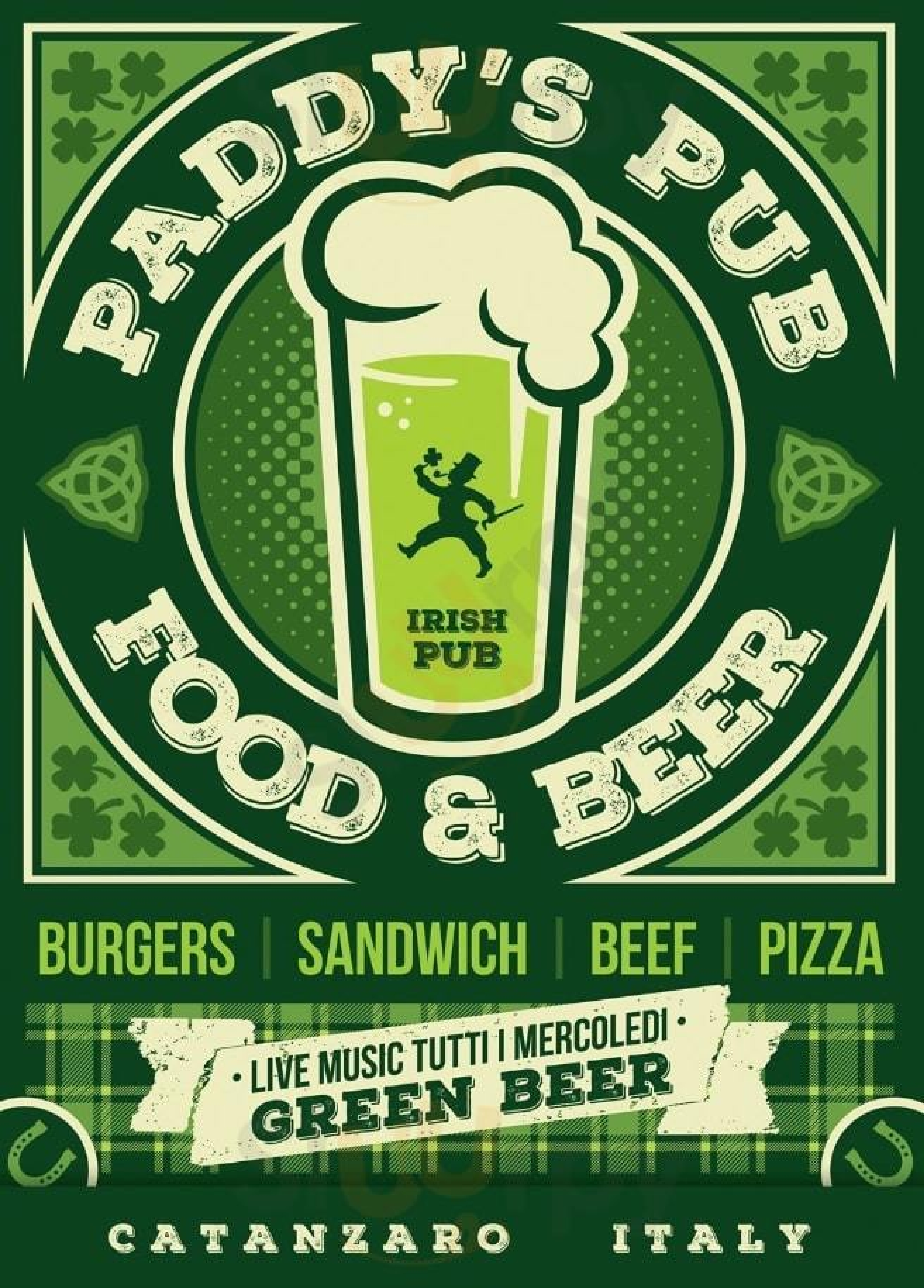 Paddy's Irish Pub Catanzaro menù 1 pagina