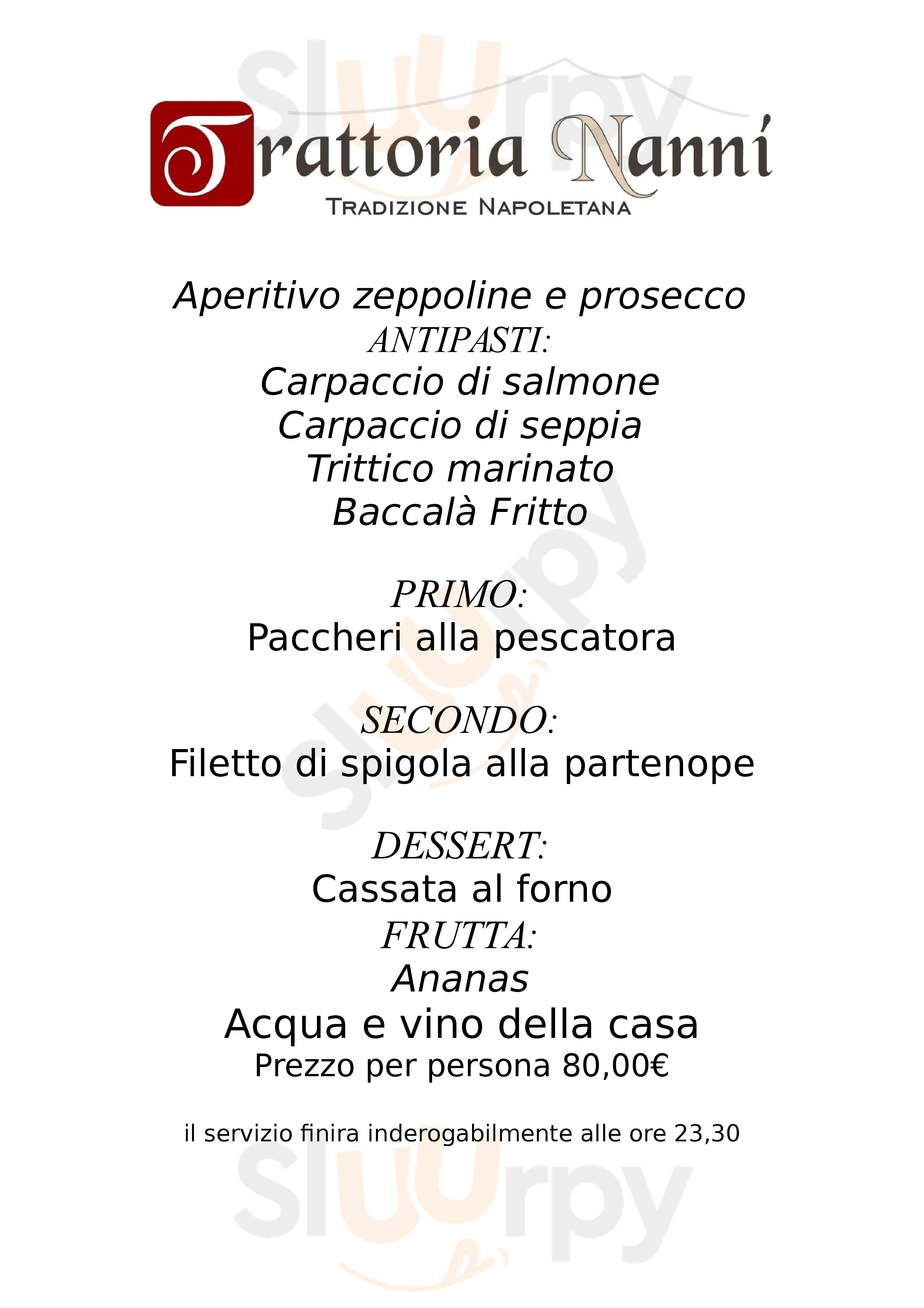Trattoria Nanni Napoli menù 1 pagina