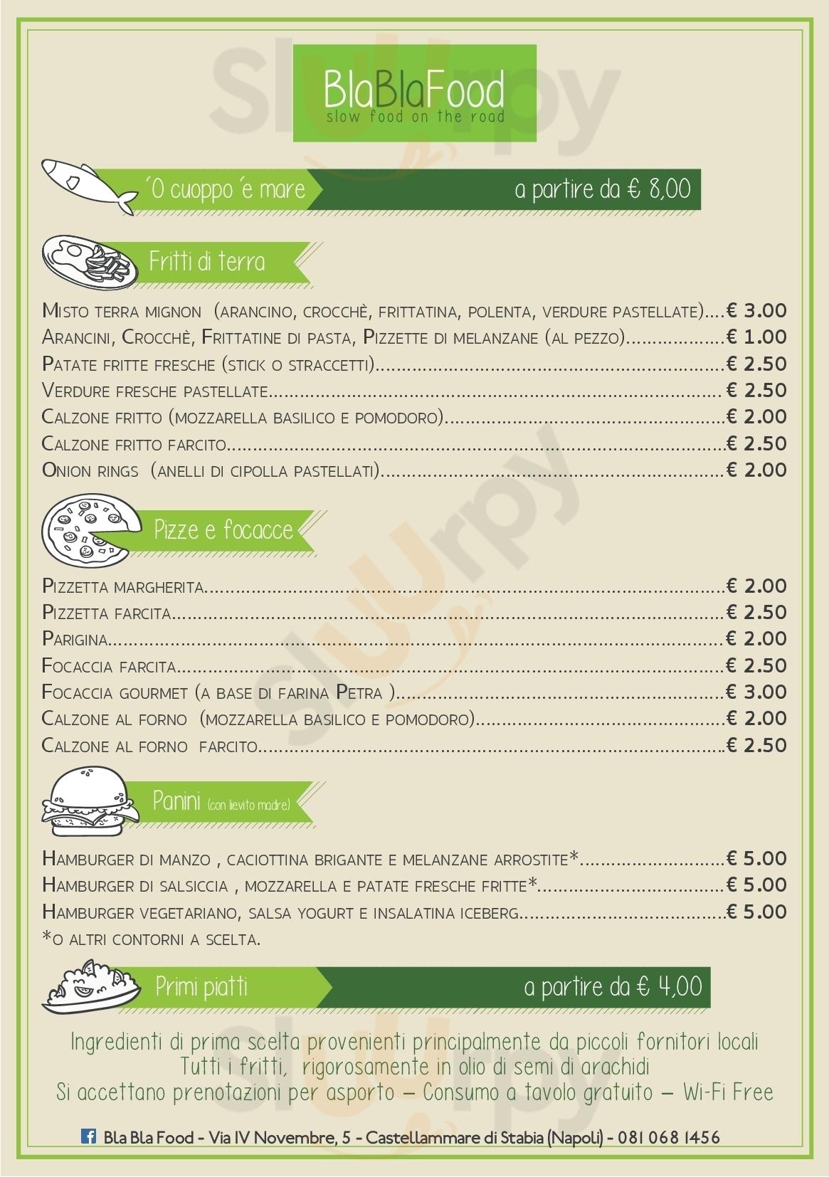 Bla Bla Food Castellammare Di Stabia menù 1 pagina