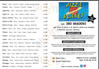 Menu PIZZA PLANET