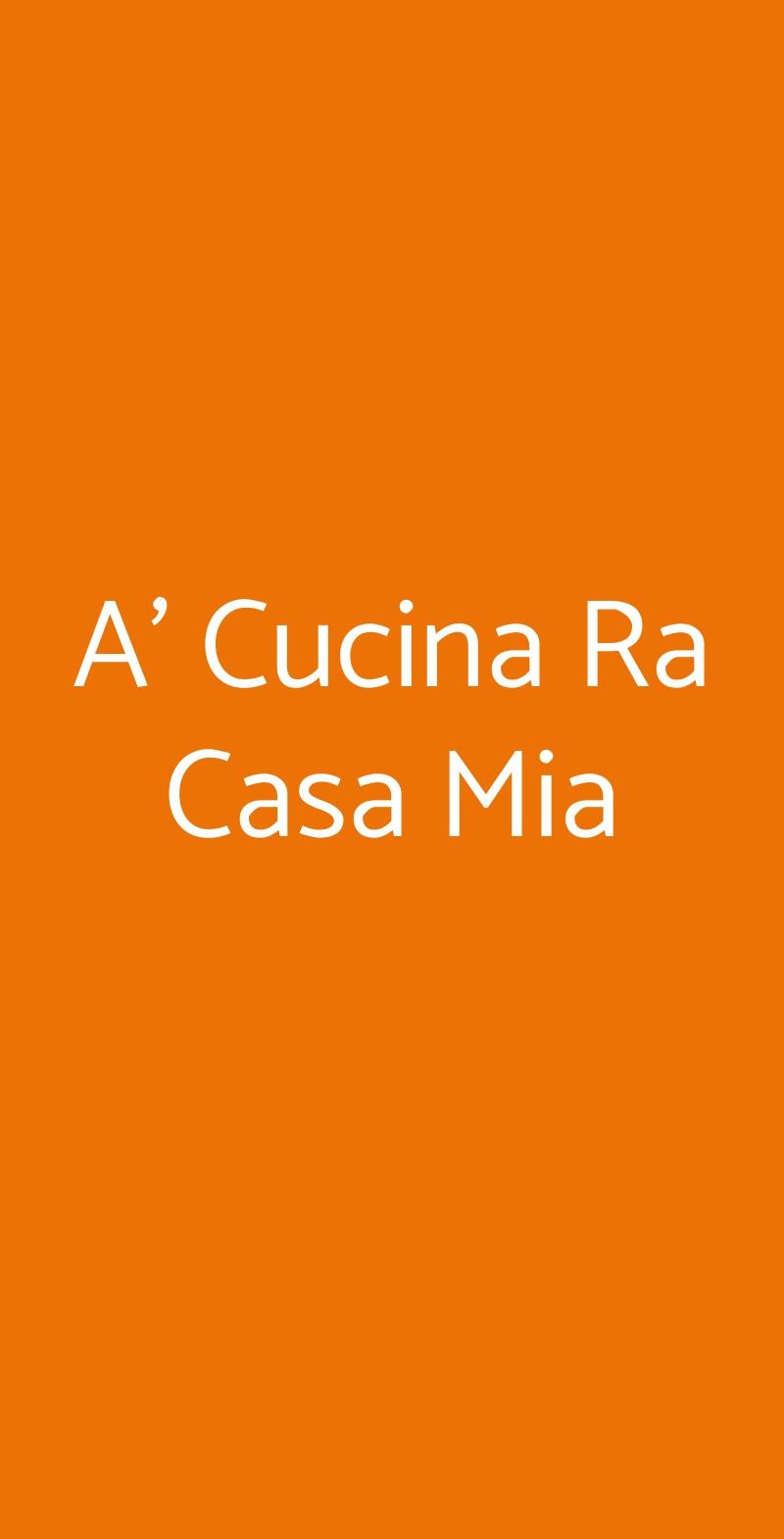 A' Cucina Ra Casa Mia Napoli menù 1 pagina