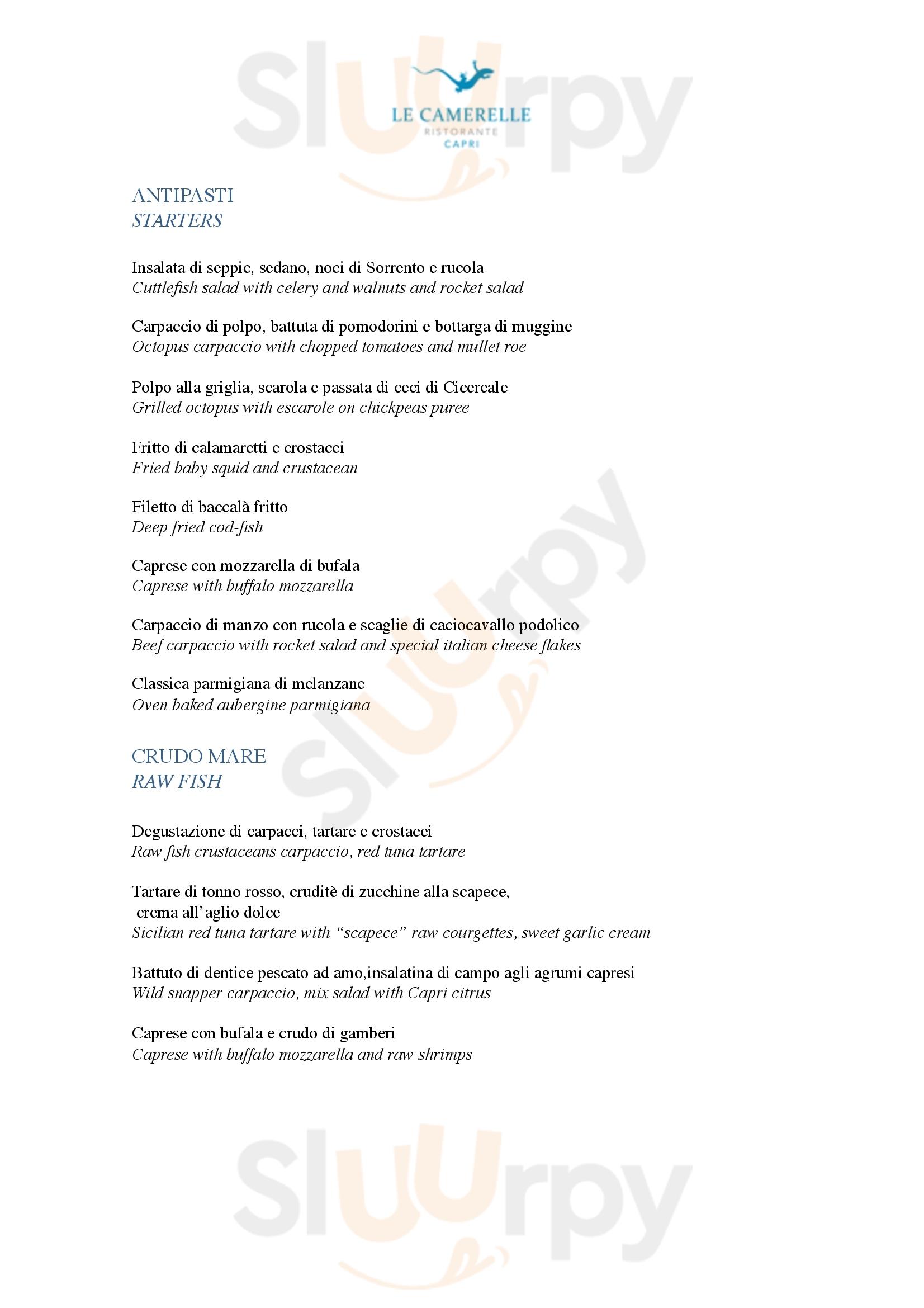 Le Camerelle Capri menù 1 pagina