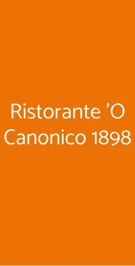 Menu Ristorante 'O Canonico 1898