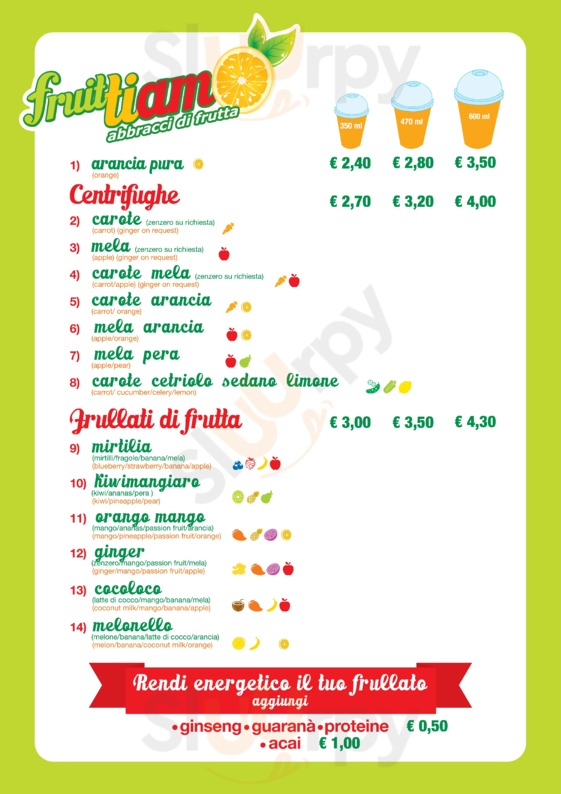Menu Fruittiamo