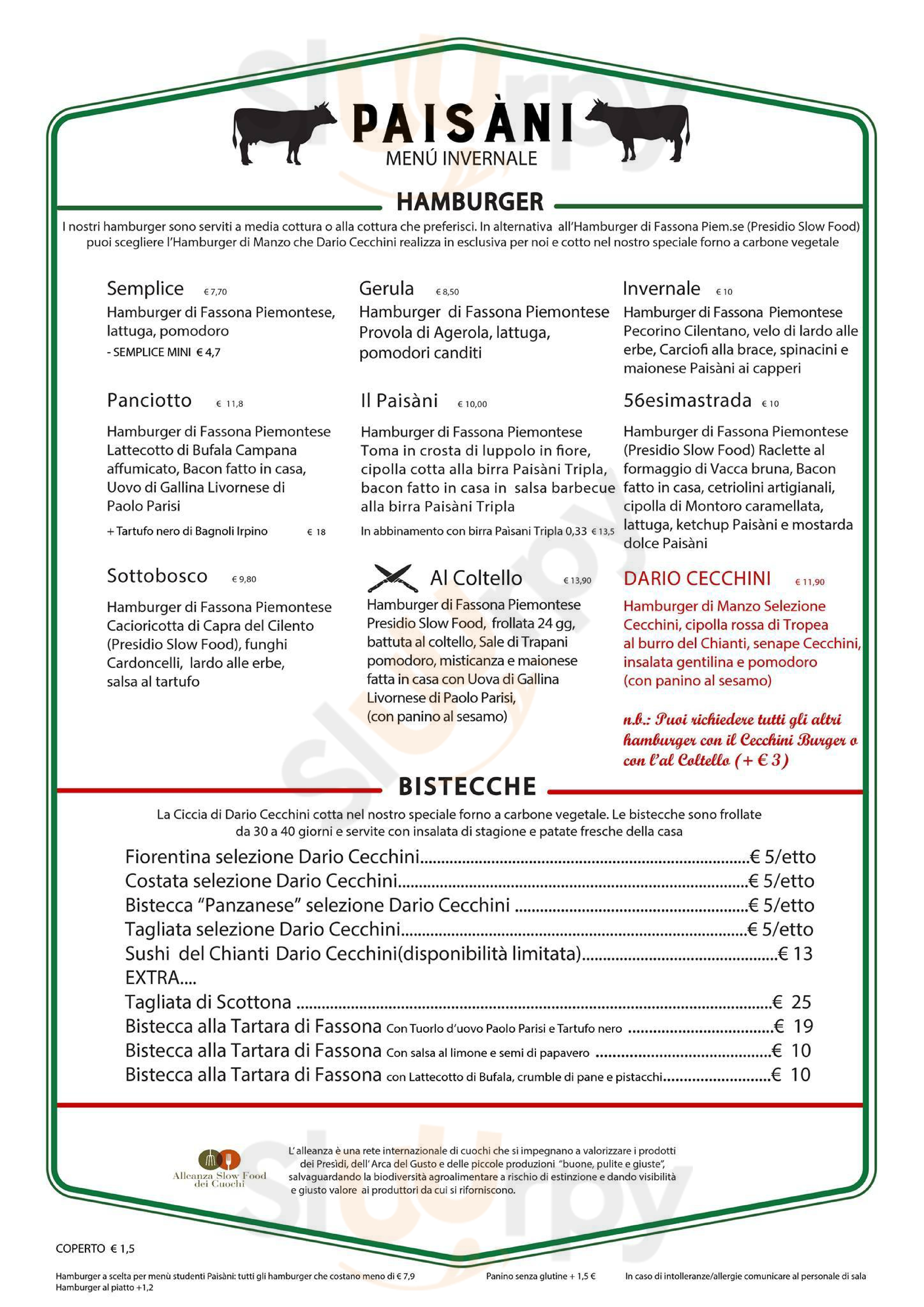 Hamburger Paisàni Aversa menù 1 pagina