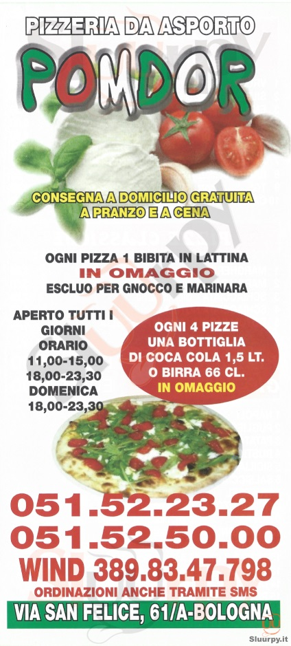 POMODOR Bologna menù 1 pagina