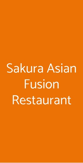 Menu Sakura Asian Fusion Restaurant