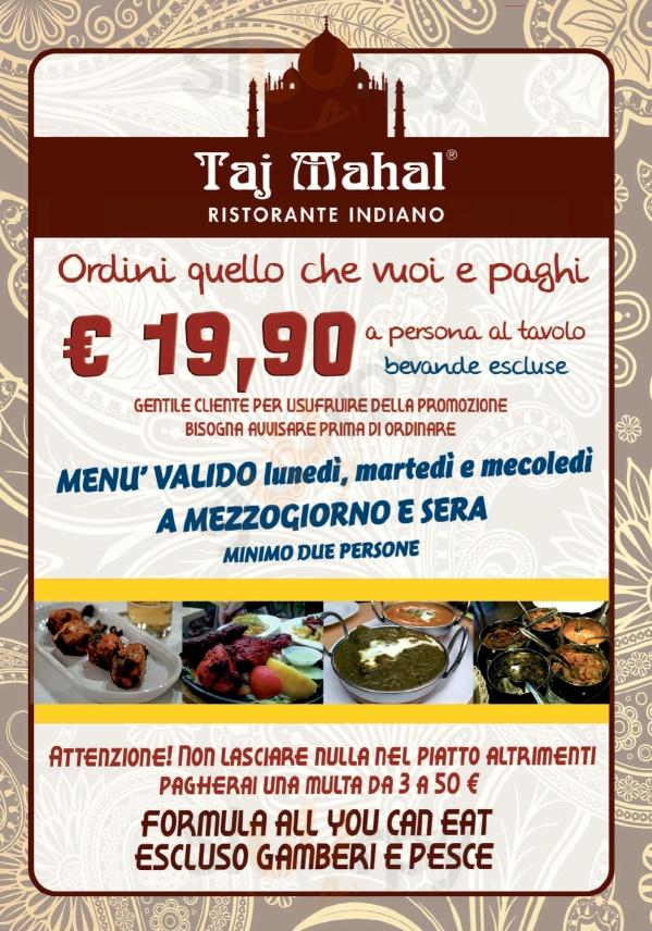 Taj Mahal Bologna menù 1 pagina