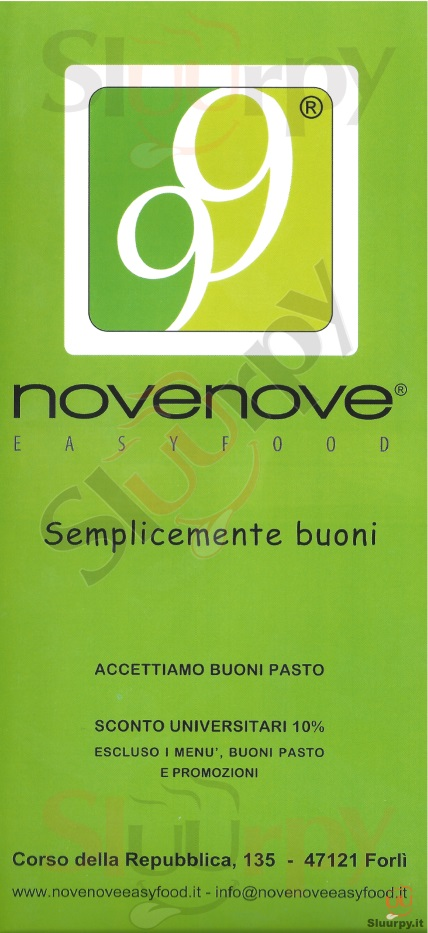 NOVENOVE Forlì menù 1 pagina