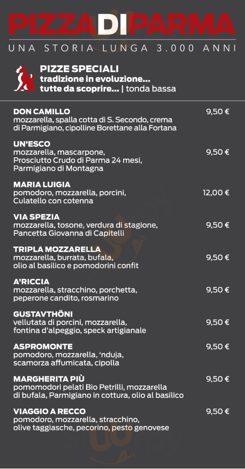 Menu Pizza di Parma