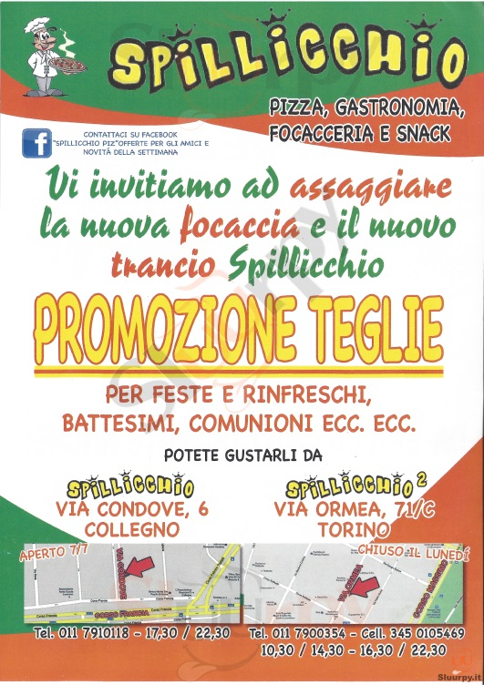 SPILLICCHIO - Torino Torino menù 1 pagina