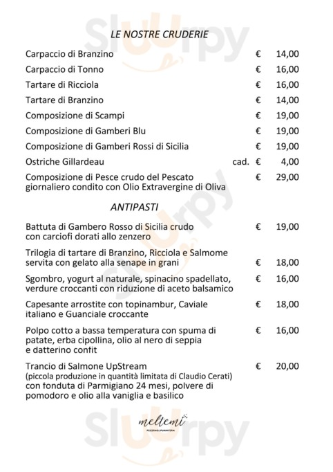 Menu Meltemi Pesceria e Spumanteria