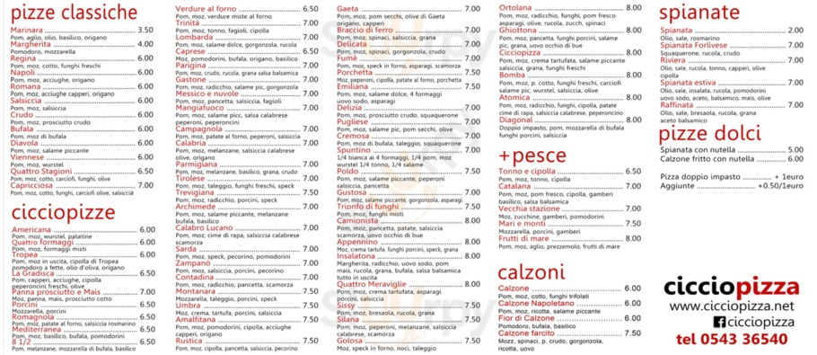 Menu Ciccio Pizza