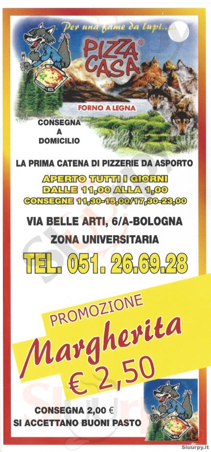 Menu Pizza Casa Via Belle Arti Bologna Specialita E Piatti Del Menu Principale