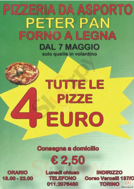 PETER PAN Torino menù 1 pagina