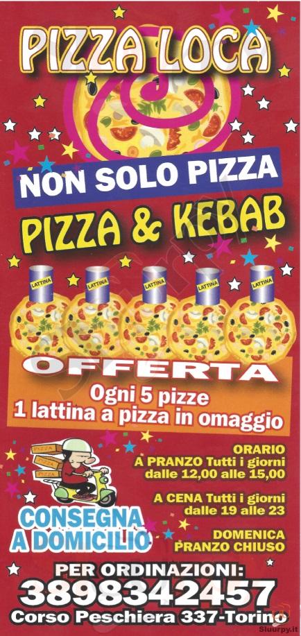 PIZZA LOCA Torino menù 1 pagina