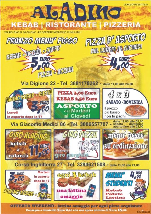 ALADINO, Via Digiorne Torino menù 1 pagina