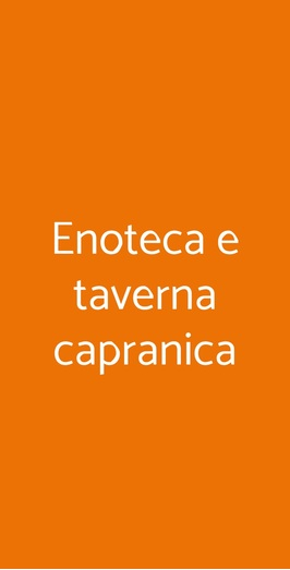 Enoteca E Taverna Capranica, Roma