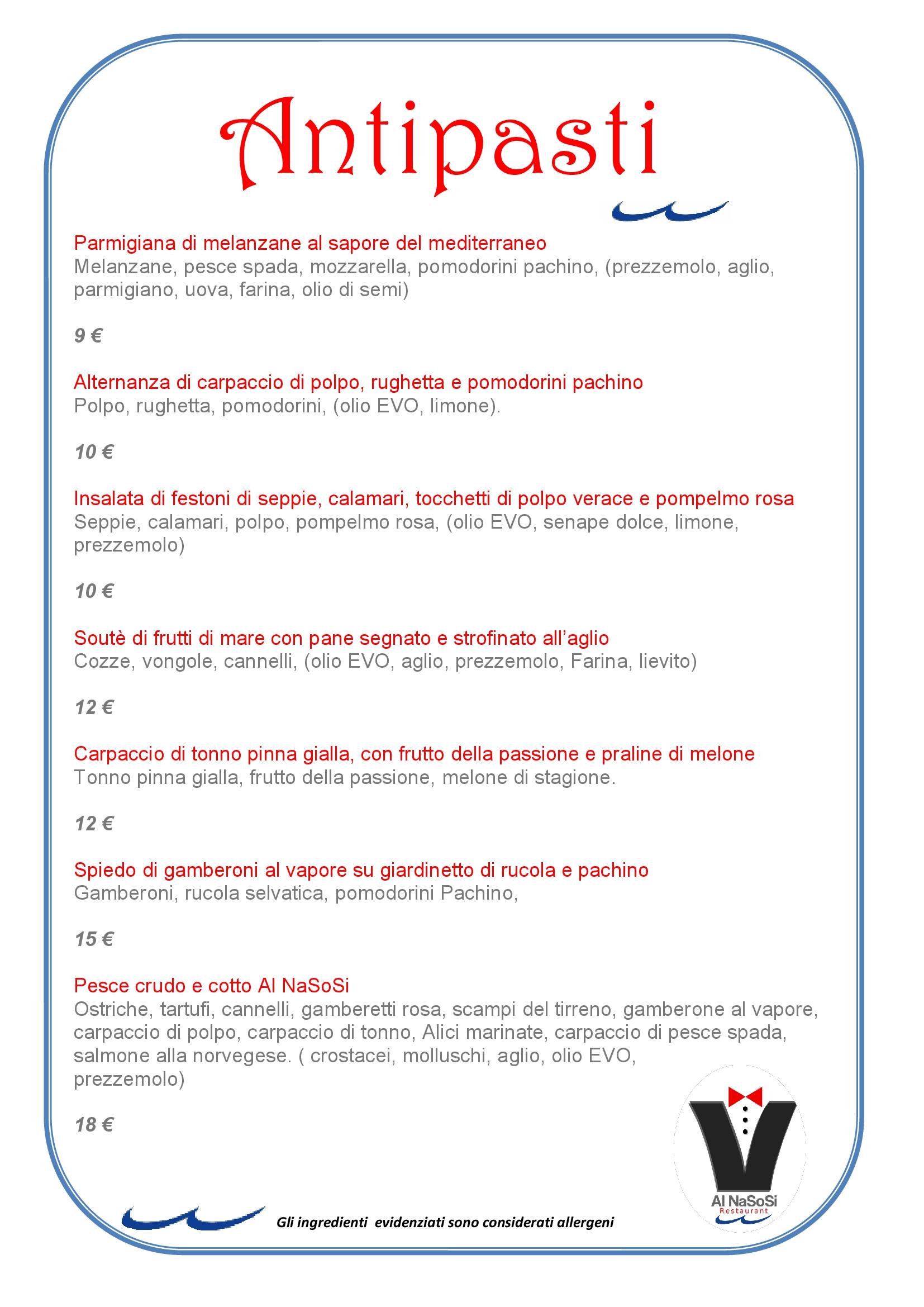 Al NaSoSi Fiumicino menù 1 pagina
