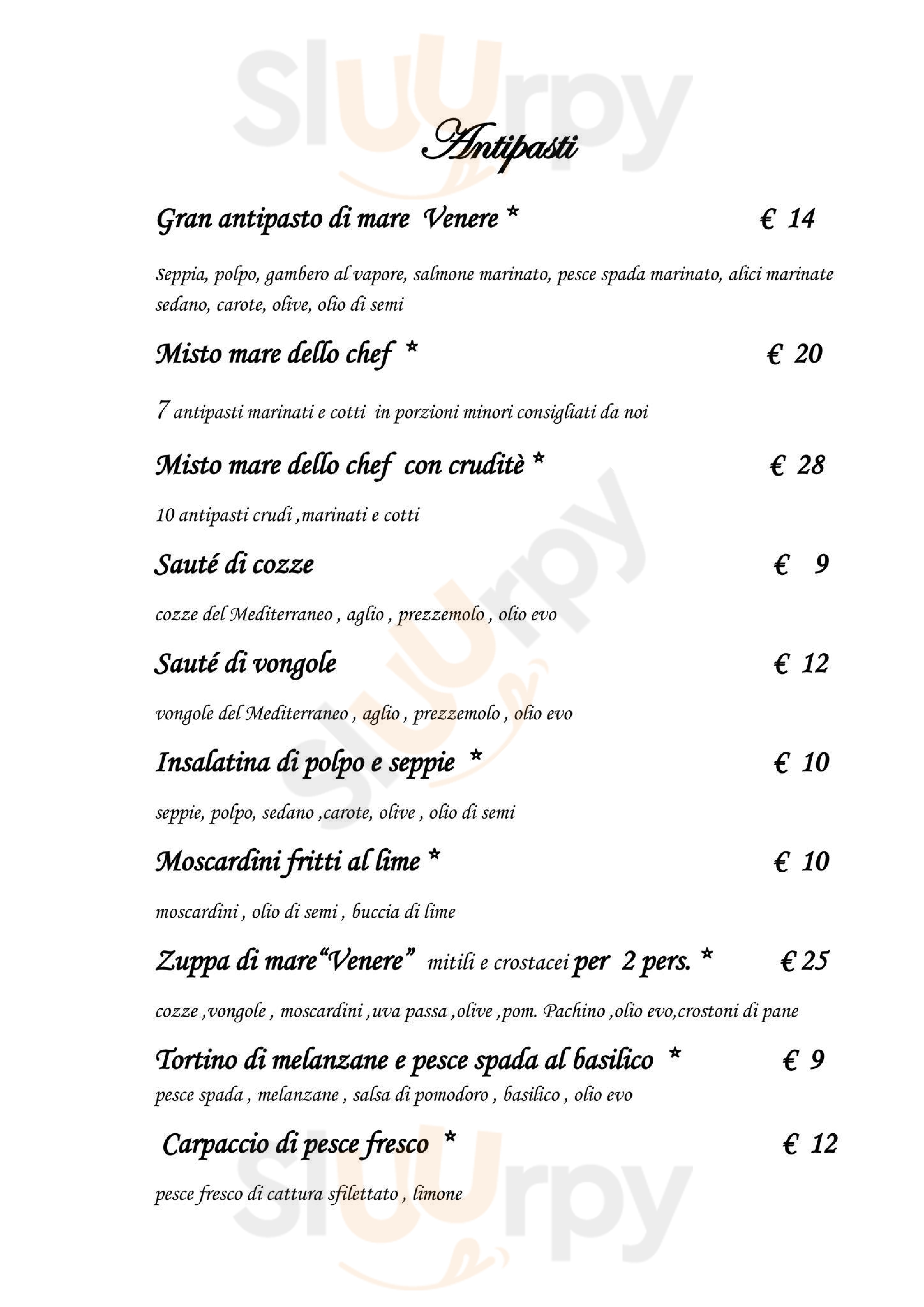 La Villa di Venere Pomezia menù 1 pagina