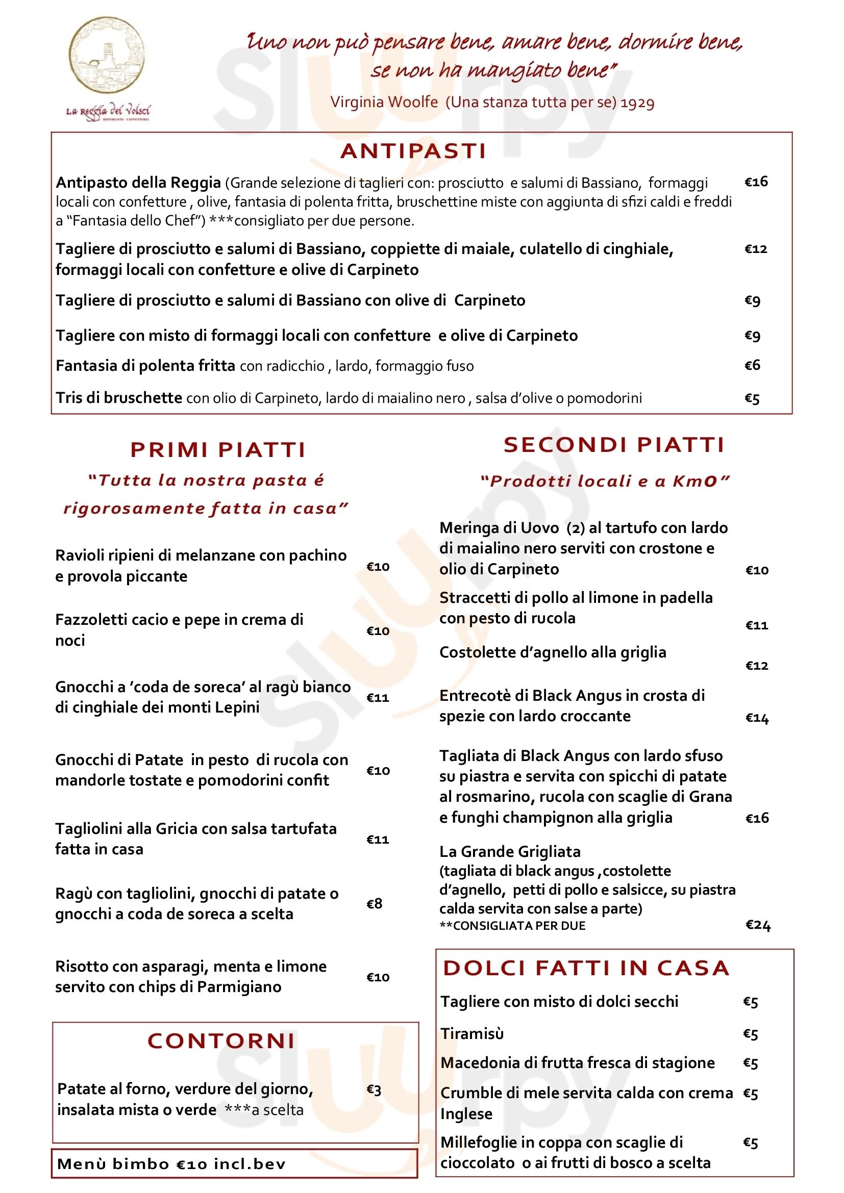 La Reggia dei Volsci Carpineto Romano menù 1 pagina