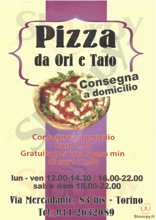 PIZZA DA ORI E TAFO Torino menù 1 pagina