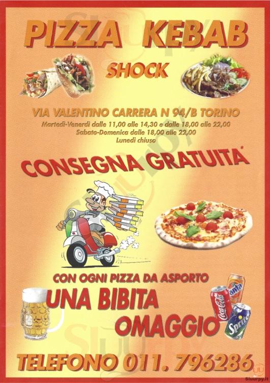 PIZZA KEBAB SHOCK Torino menù 1 pagina