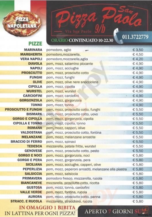 PIZZA SAN PAOLO Torino menù 1 pagina