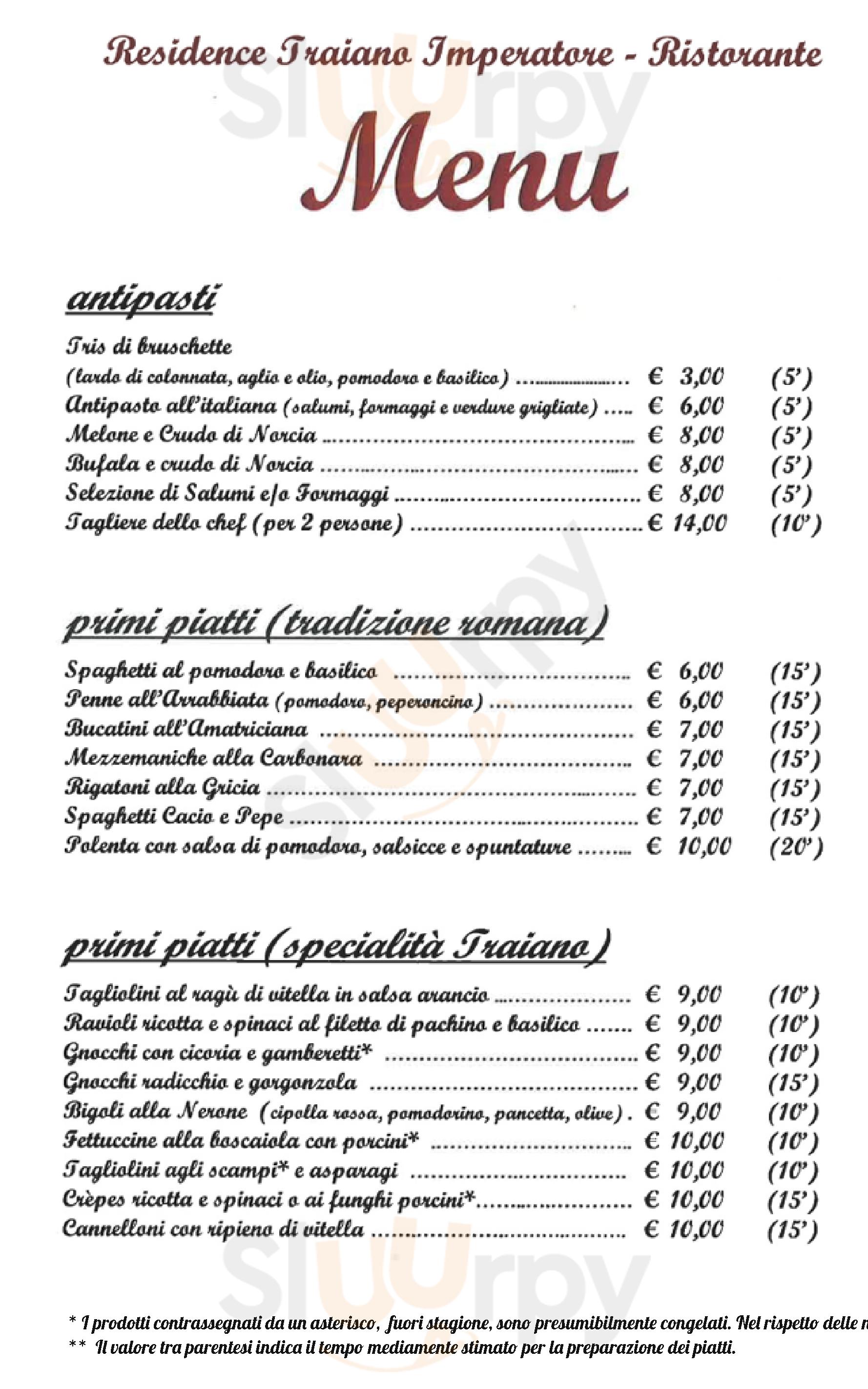 Ristorante Traiano Imperatore Arcinazzo Romano menù 1 pagina