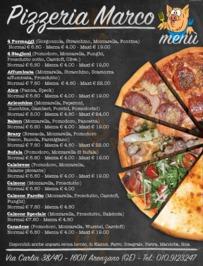 Menu Pizzeria Marco