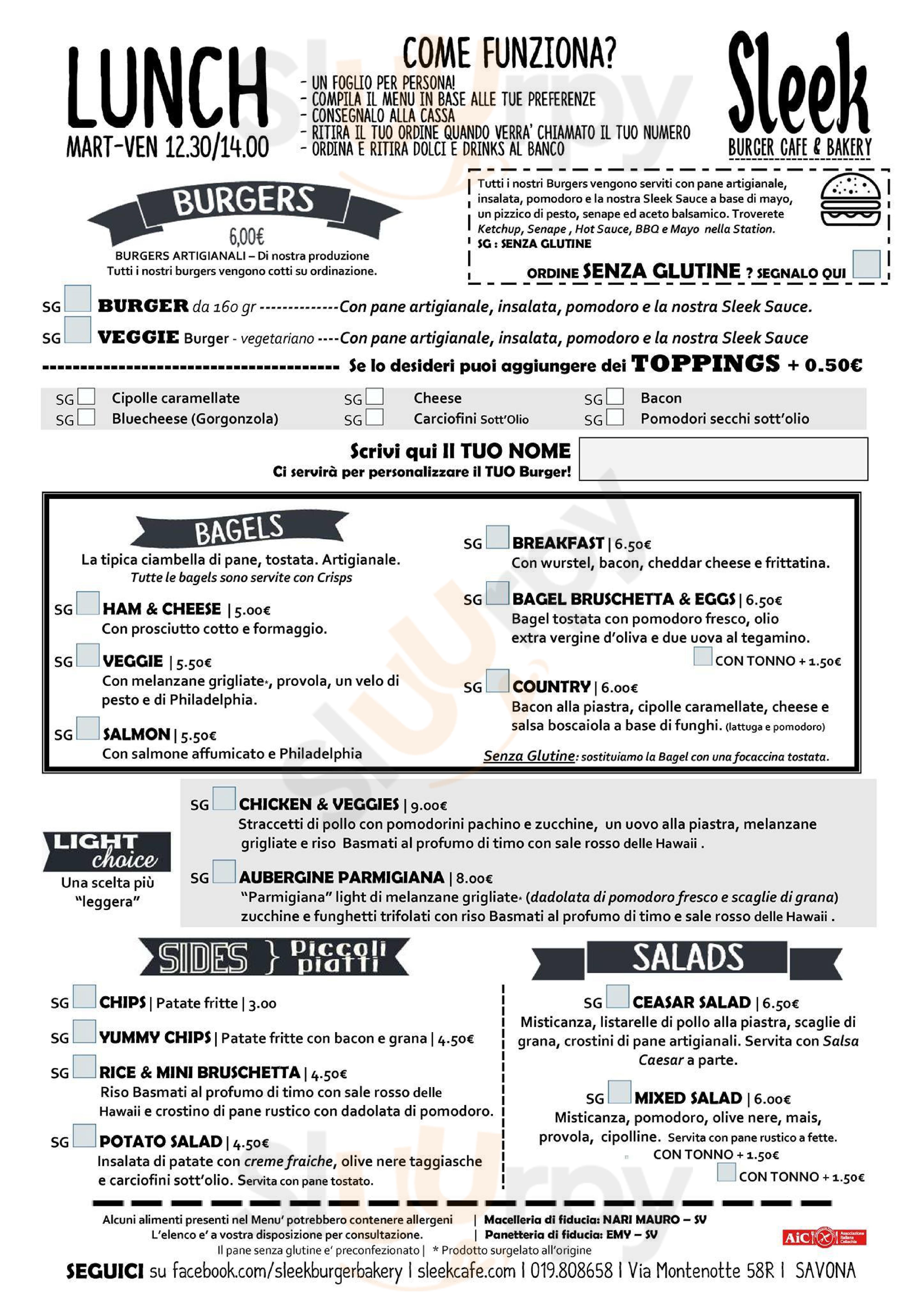 Sleek Burger Cafe & Bakery Savona menù 1 pagina