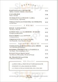 Menu Ristorante Fish Bar L'Oa