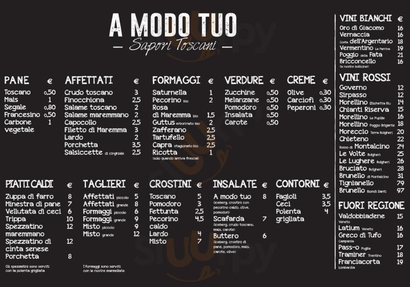 Menu A modo tuo - Sapori Toscani