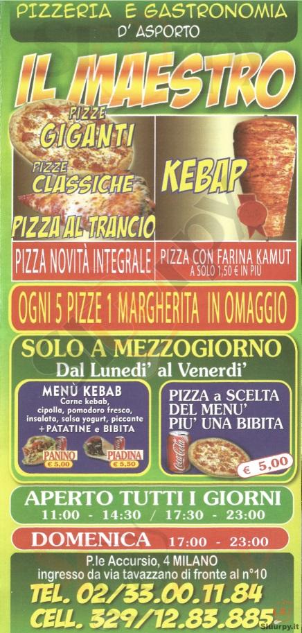 IL MAESTRO Milano menù 1 pagina