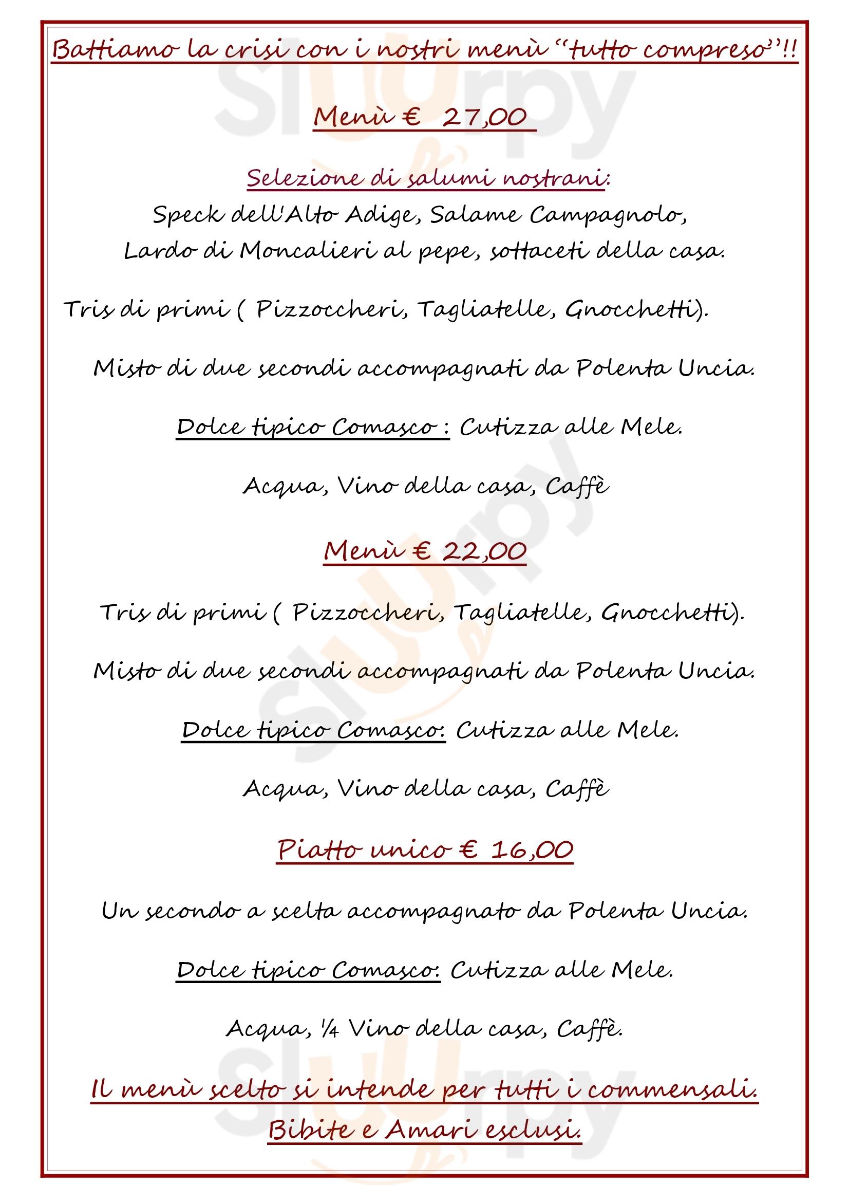 Baita Monte Croce Como menù 1 pagina