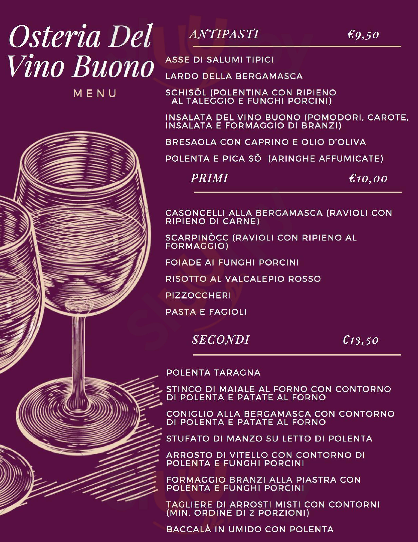 Antica Hosteria del Vino Buono Bergamo menù 1 pagina