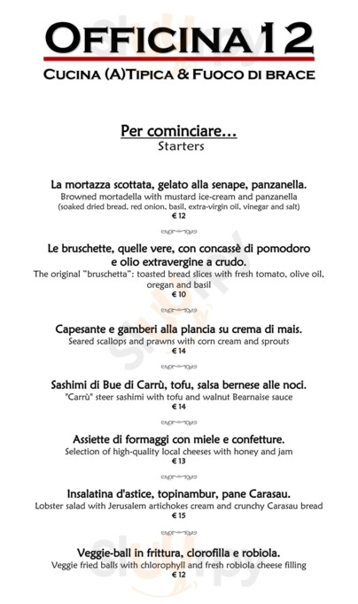 Menu Officina 12