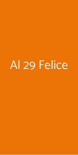 Menu Al 29 Felice