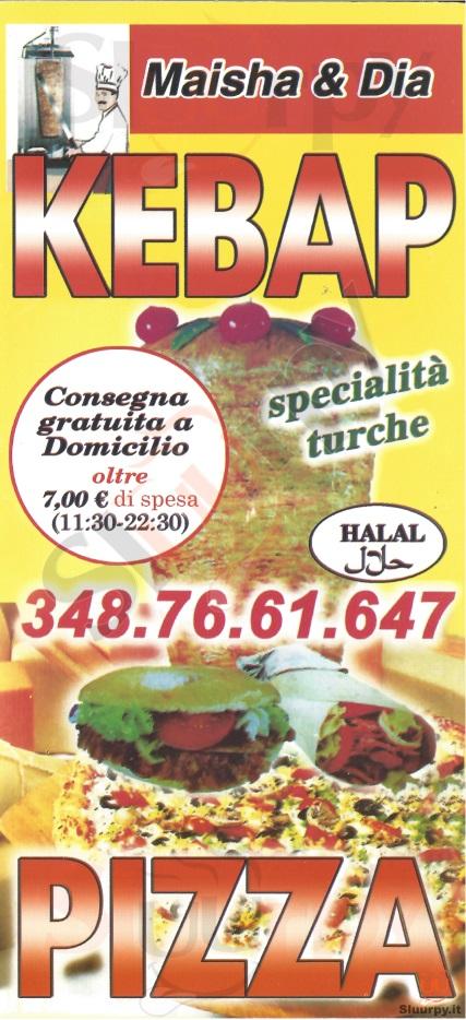 MAISHA & DIA Milano menù 1 pagina